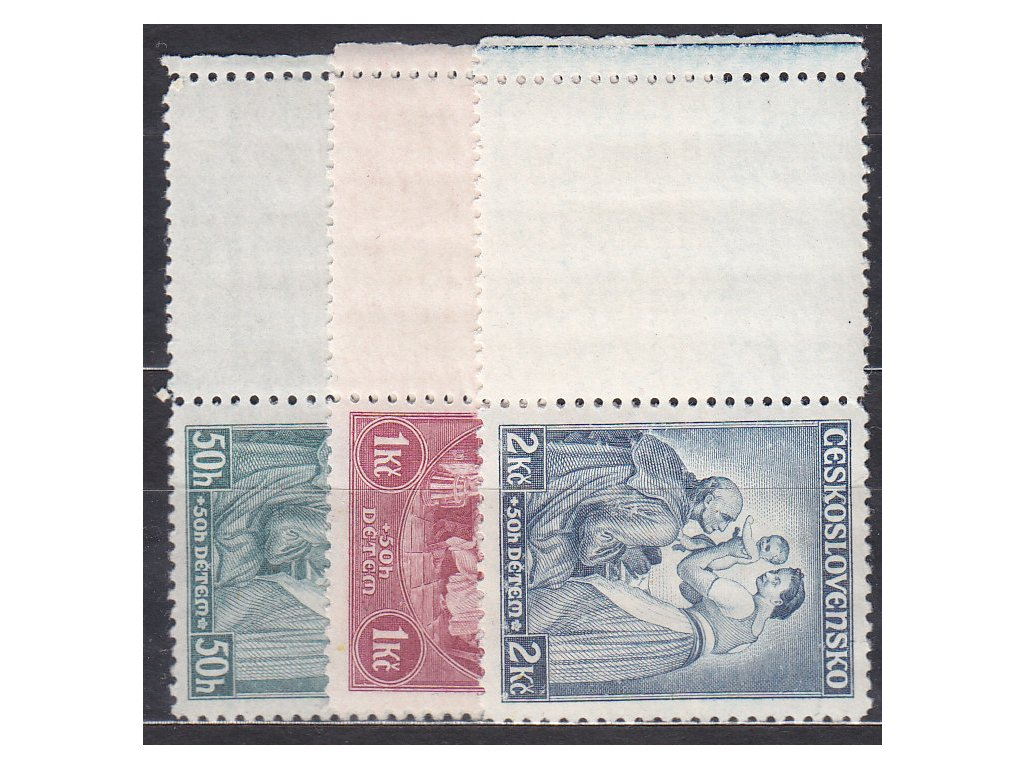 1936, 50h-2Kč Dětem, levé kupony, Nr.295-7, **