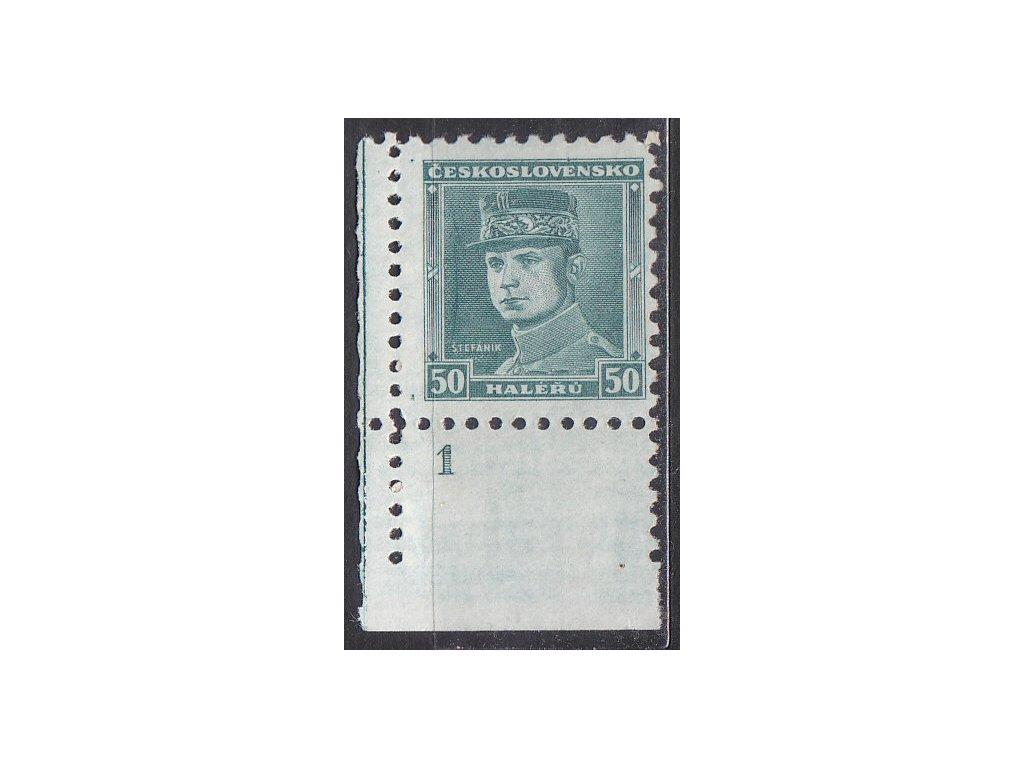 50h Štefanik, roh. kus s DČ 1 - prasklá deska, Nr.291, **