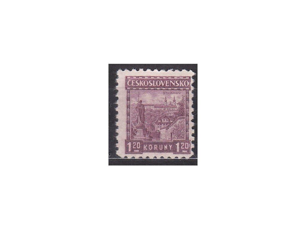 1926, 1.20Kč Strahov, bez pruhů, Nr.219a, * po nálepce