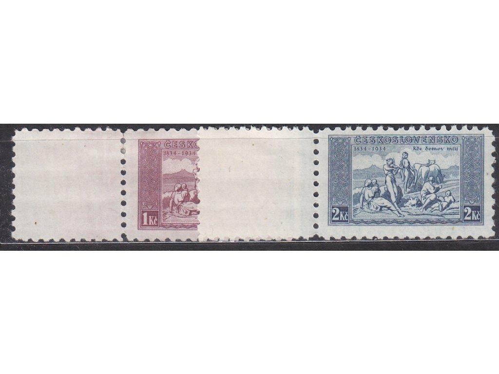 1934, 1-2Kč KDM, levé kupony, Nr.281-2, * po nálepce