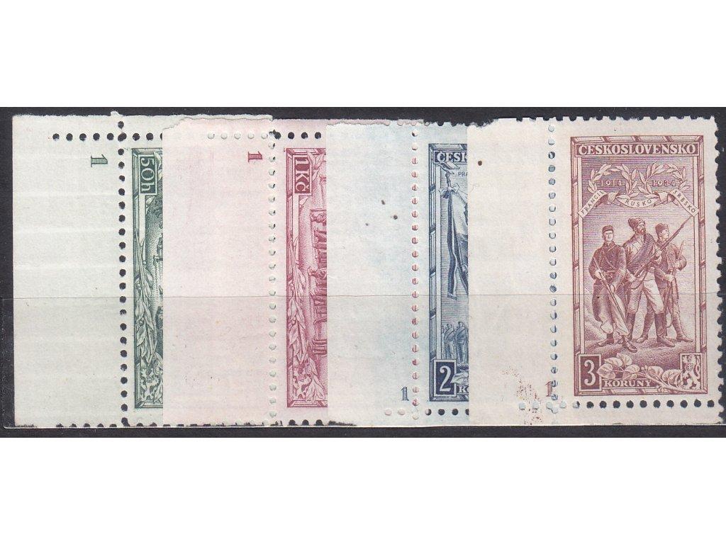 1934, 50h-3Kč Vojenské, roh. série s DČ 1, Nr.276-9, **/*