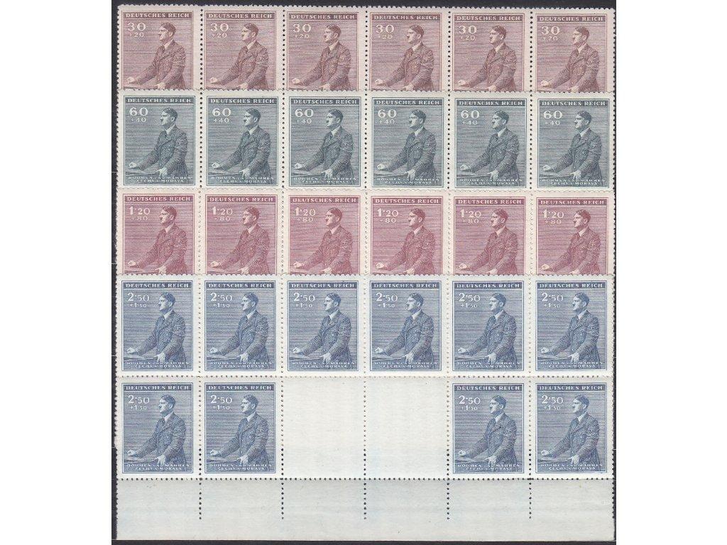 1942, 30h-2.50K Hitler, velké podkovy, dolní okraj, VK-6, Nr.74-7, **, 1.20K archový obtisk