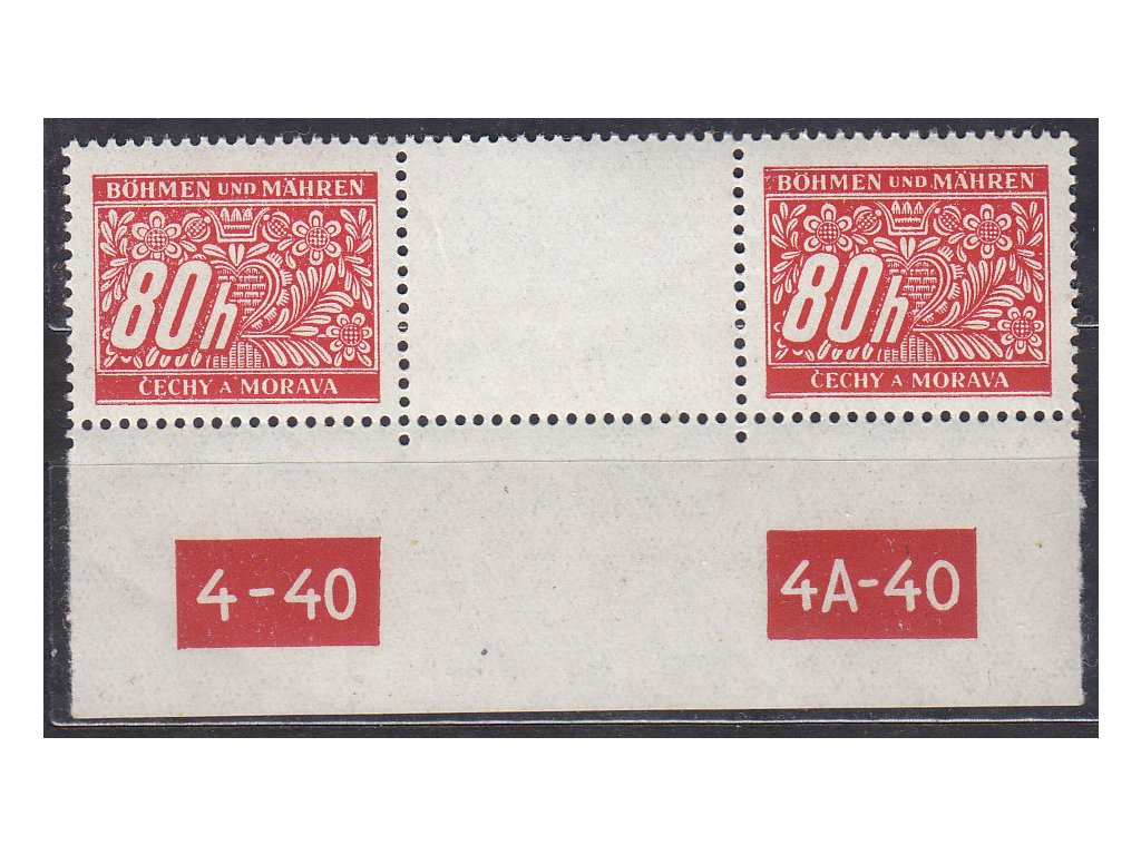 1939, 80h Doplatní, meziarší s DČ4-40-4A-40, Nr.DL8, **