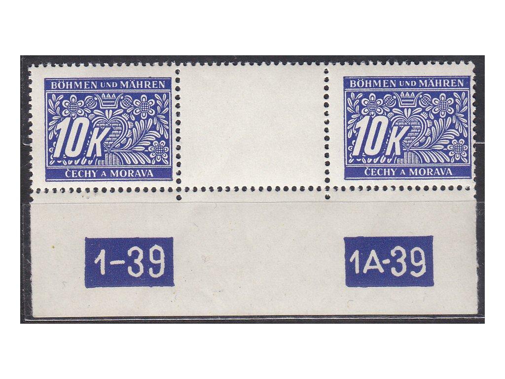 1939, 10K Doplatní, meziarší s DČ1-39-1A-39, Nr.DL13, **
