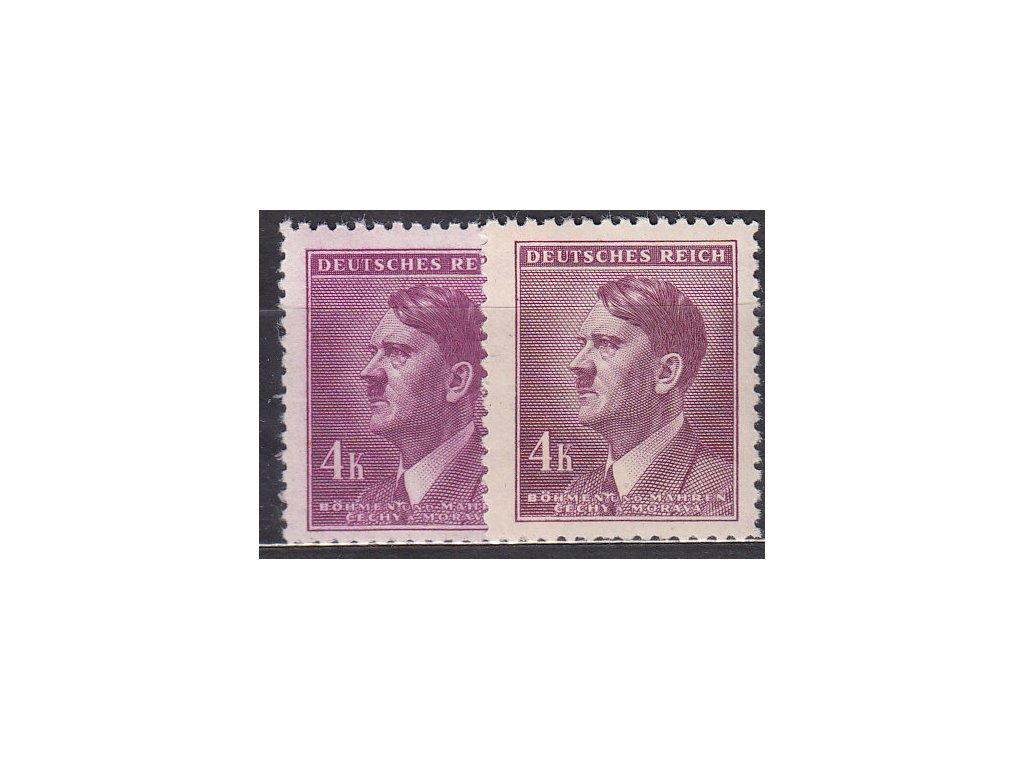 1942, 4K Hitler, 2 ks - odstíny barev, Nr.92, **
