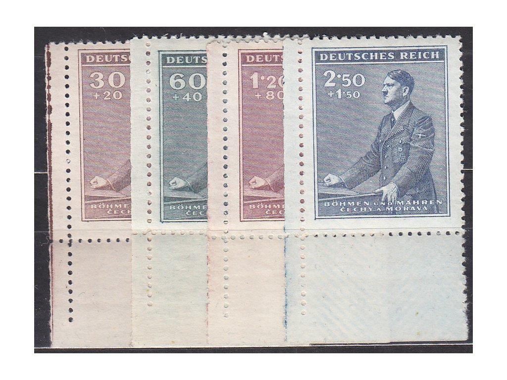 1942, 30h-2.50K Hitler, levé dolní roh. kusy, Nr.74-7, **