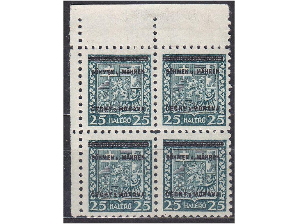 1939, 25h Znak, levý horní roh. 4blok, Nr.4, **