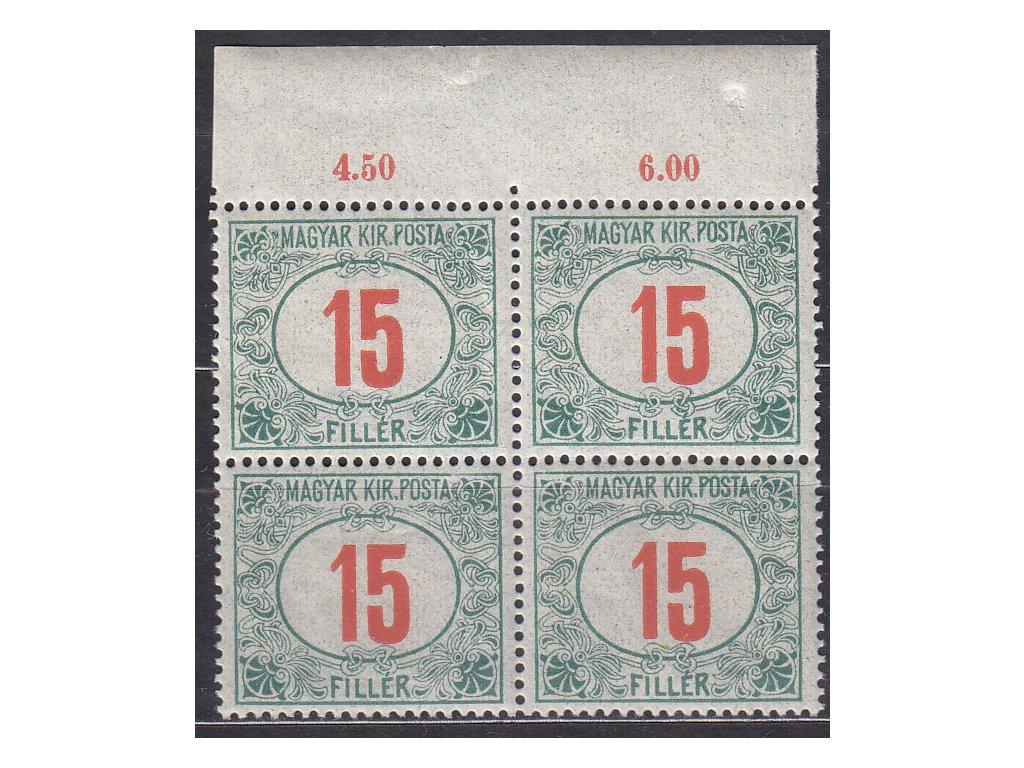 15f Doplatní - červené číslo, kraj. 4blok, zn. platná v ČSR, **