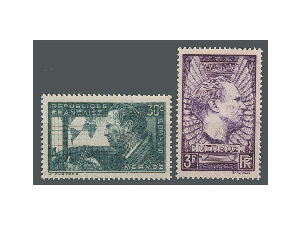 1937, 30C-3Fr série Mermoz, MiNr.343-44, **