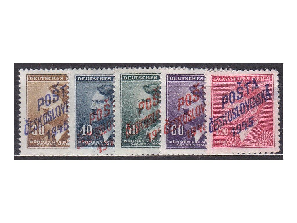 30h-1.20K Hitler, 5 hodnot s přetiskem POŠTA ČESKOSLOVENSKÁ 1945, **