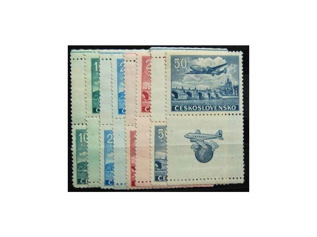 1946, 10-50Kčs letecké, Nr.L20-24, KH+KD, **