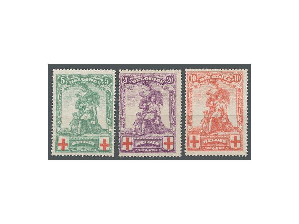 1914, 5-20C série Červený kříž, MiNr.104-6, * po nálepce