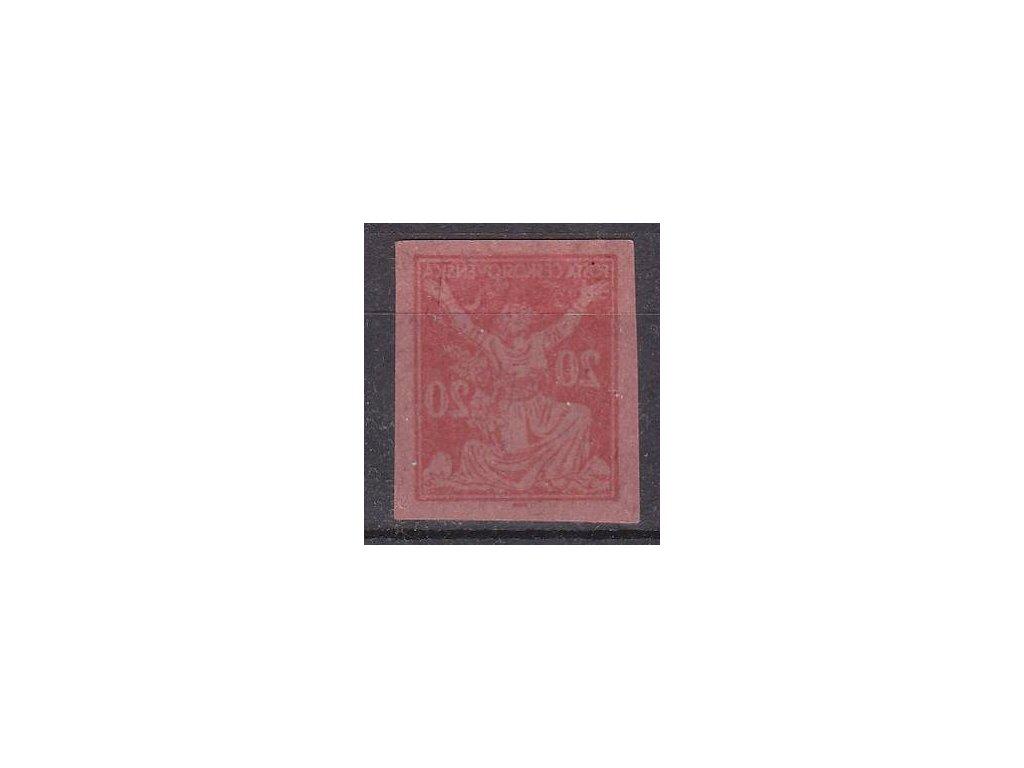 20h červená, ZT na růžovém papíru, plný obtisk, Nr.151,bez lepu
