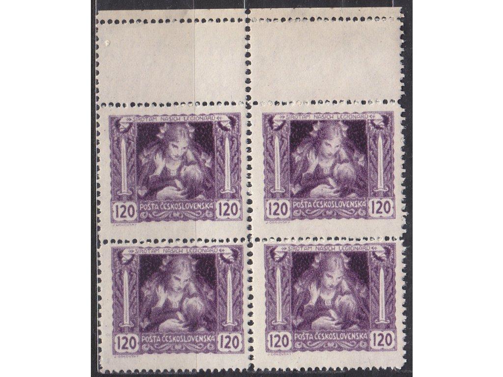 120h fialová, kraj. 4blok s dvojitou perf., Nr.32B, **