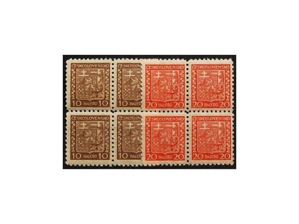 1929, 10 a 20h Znak, pergamenové papíry, 4bloky, Nr.249x,250x, **