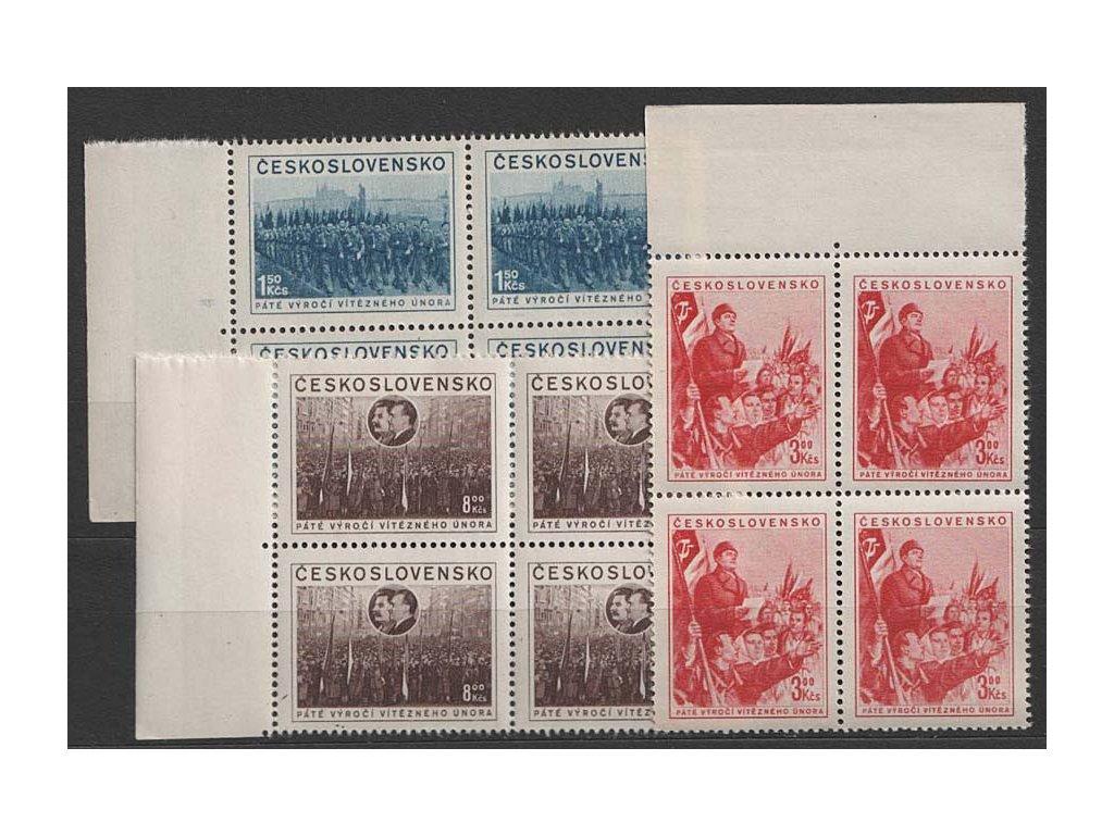 1953, 1.50-8Kčs série Výročí února, 4bloky, Nr.704-6, **