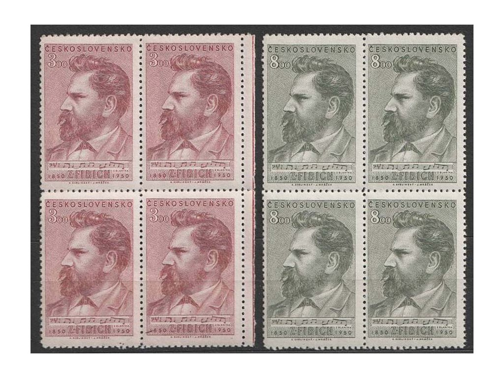 1950, 3-8Kčs série Fibich, 4bloky, Nr.556-57, **