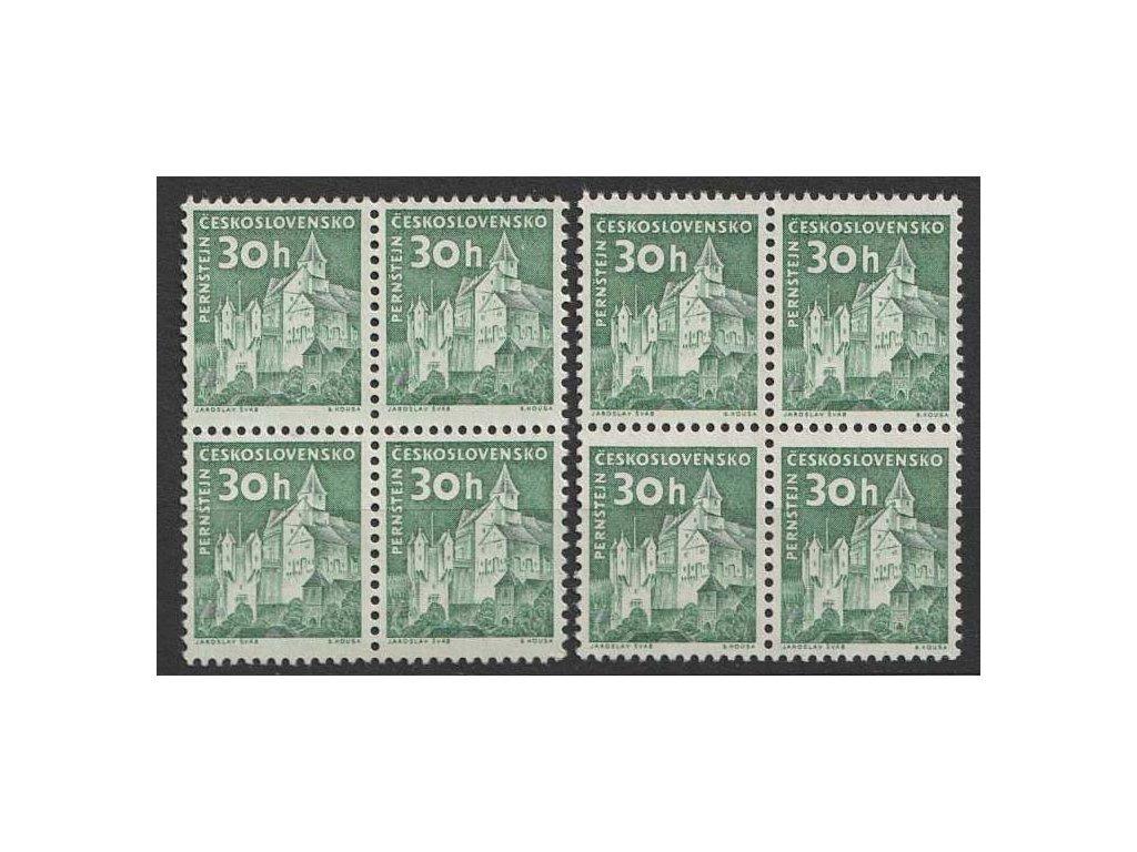 1961, 30h Hrad Pernštejn, 4bloky, odstíny, Nr.1205, **