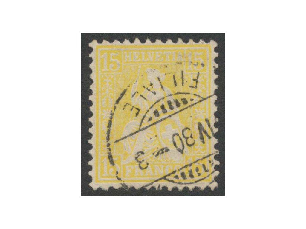 1867, 15 C Helvetia, MiNr.31, razítkované, dv