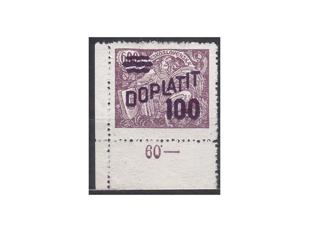 100/600h fialová, Řz.13 3/4, roh. kus s počitadlem, Nr.DL47, * po nálepce