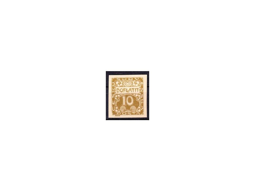 1919, 10h hnědá, ZT na nahnědlém papíru, Nr.DL2, bez lepu