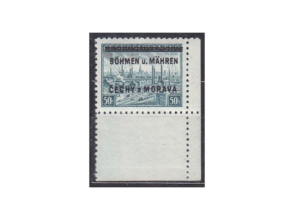 1939, 50h Plzeň, pravý dolní roh. kus - bez tečky, Nr.7, **