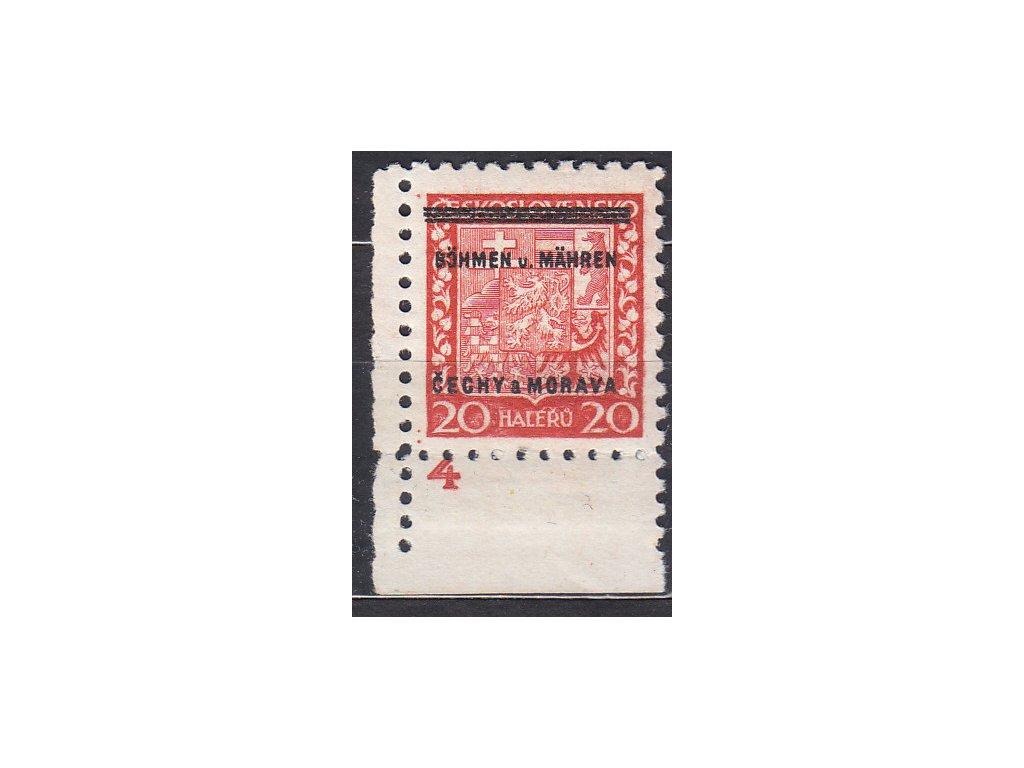 1939, 20h Znak, roh. kus s DČ 4, Nr.3, **