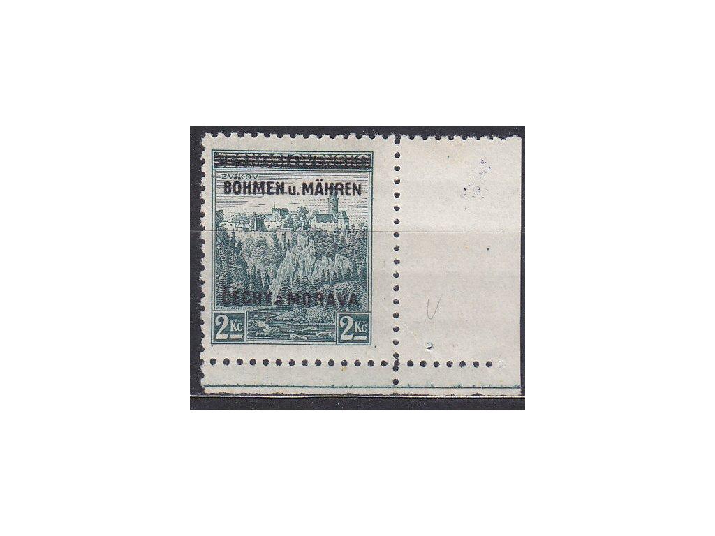 1939, 2Kč Zvíkov, pravý dolní roh. kus - úzký okraj - s tečkou, Nr.14, **