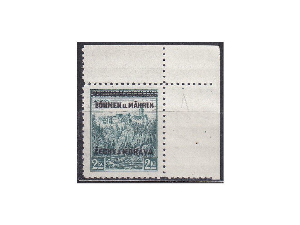 1939, 2Kč Zvíkov, pravý horní roh. kus - široký okraj - s tečkou, zk.Mrňák, Nr.14, **