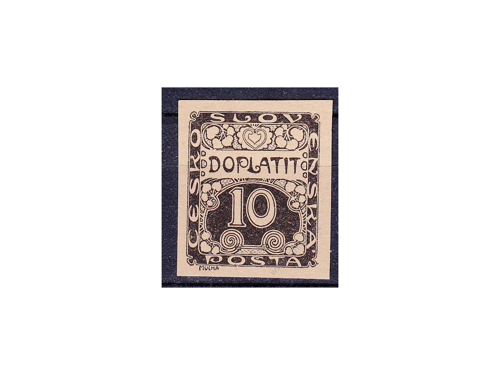 10h černá, ZT na nahnědlém papíru, Nr.DL2, bez lepu