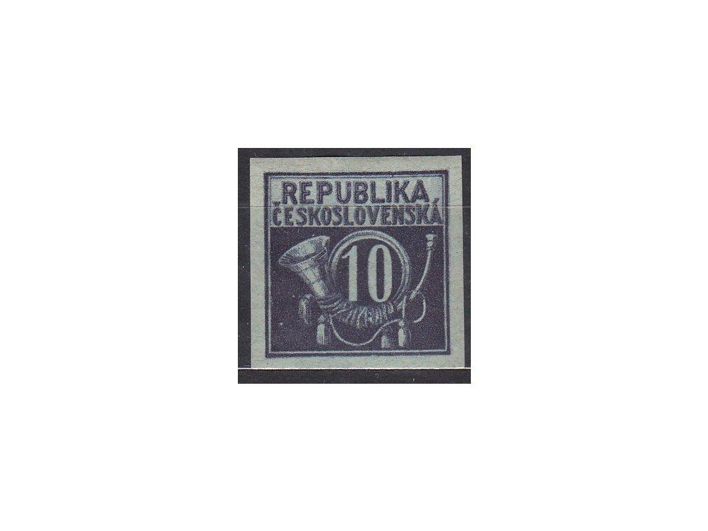 Návrh na čs. kolek 10h v modré barvě na známkovém papíru s lepem, * po nálepce, cca 1920