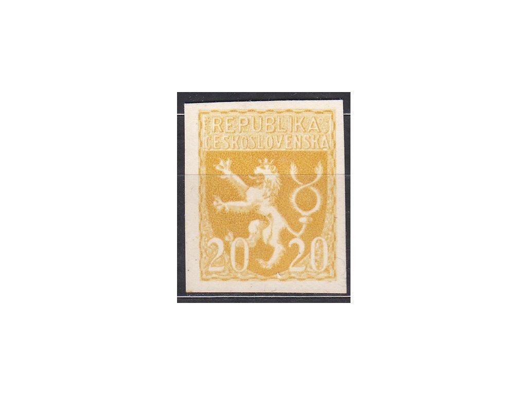 Návrh na čs. kolek 20h Lev v barvě žluté na silném křídovém papíru bez lepu, cca 1920