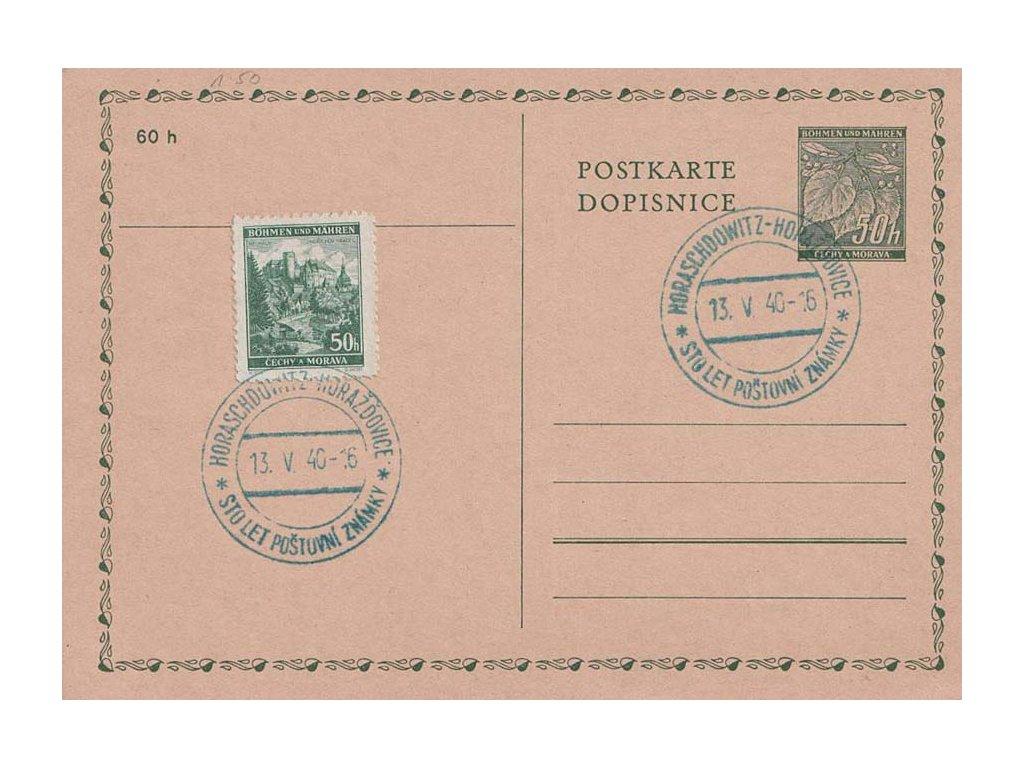 1940, Horažďovice, Sto let poštovní známky, dopisnice, neprošlé