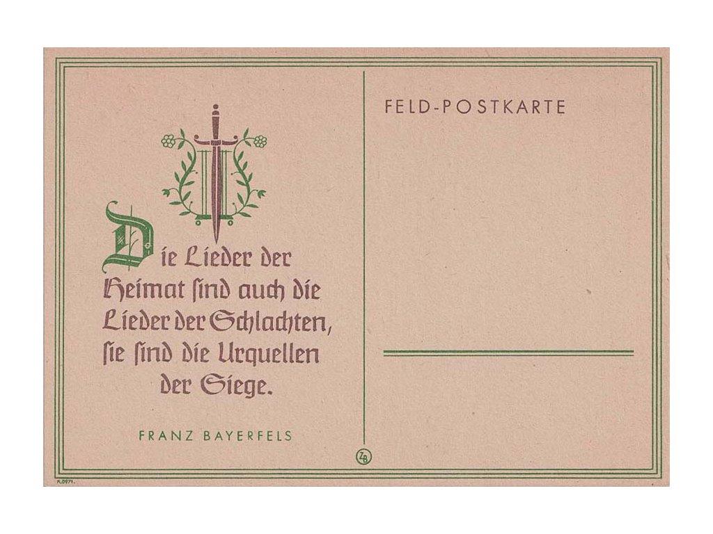 Feld-Postkarte, neprošlá, bezvadná