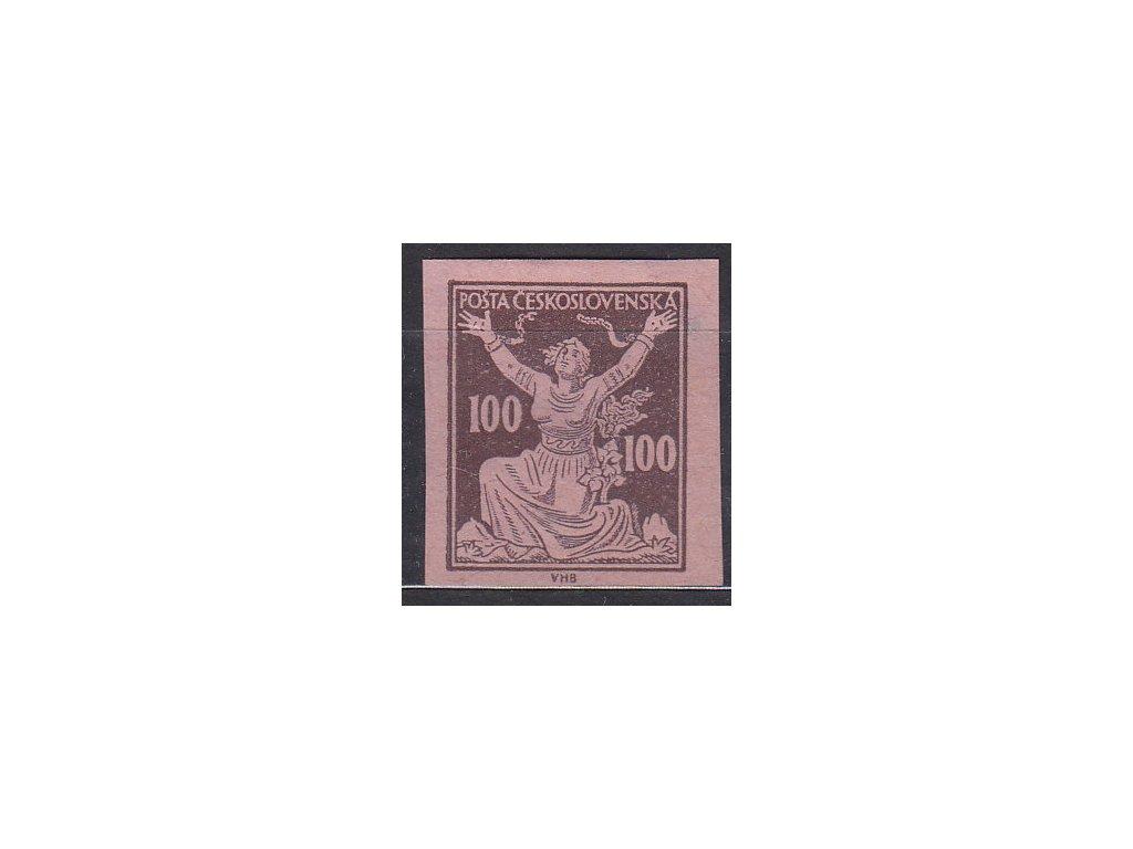 100h hnědá, nezoubk. ZT na růžovém papíru, obtisk, Nr.158, bez lepu