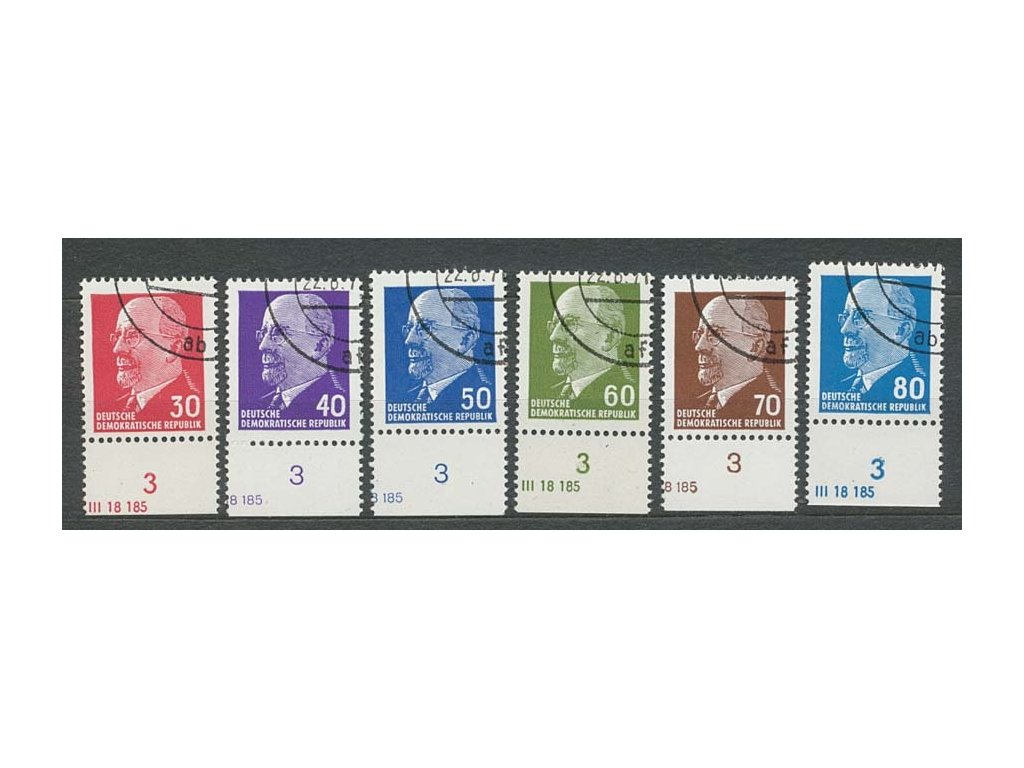 1963/67, 30-80Pf Ulbrichr, DZ, 6 kusů, razítkované