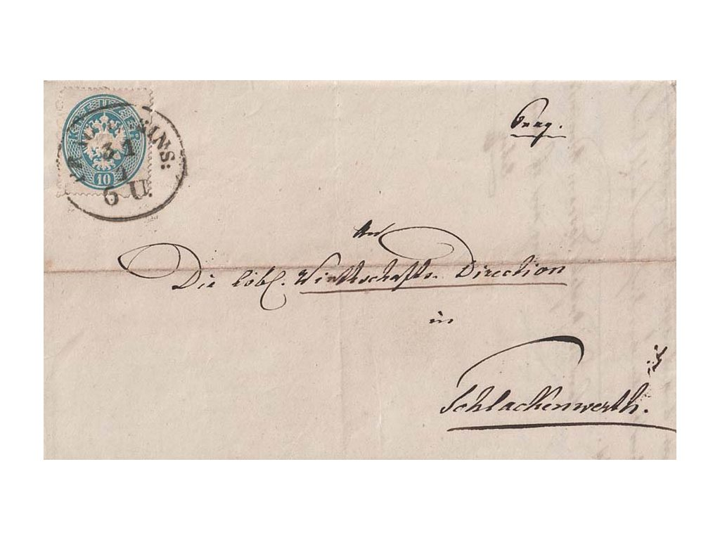 1864, oválné DR Prag Kleins, skládaný dopis