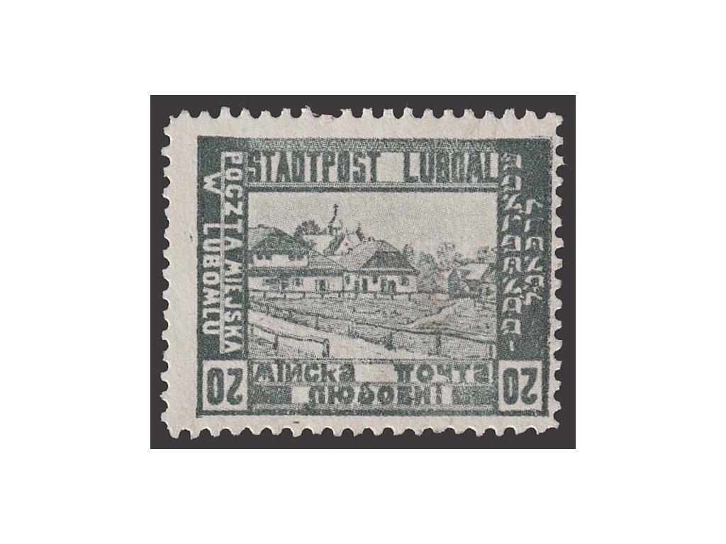 1918, Luboml, 20 H Město, nevydaná, obrácenné číslo, těžší *
