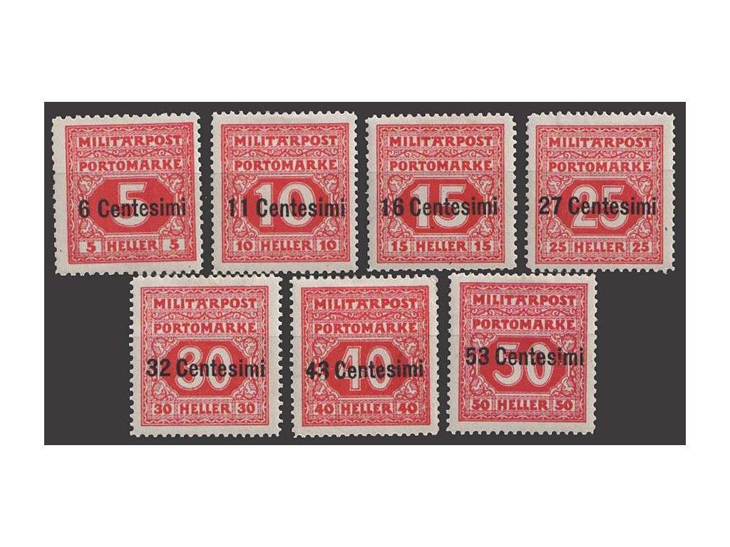 Itálie, 1918, 6C/5H-53C/50H doplatní série, * po nálepce