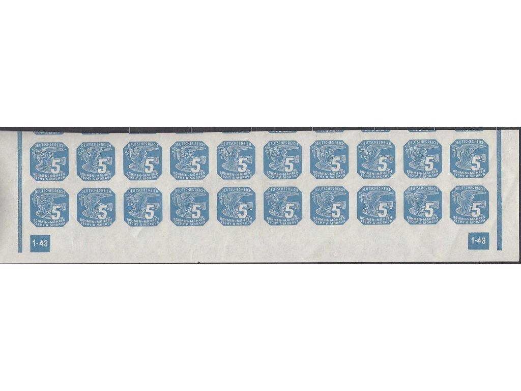 1943, 5h modrá, 20pás s DČ 1-43 - rám nepřerušen, Nr.NV11, **