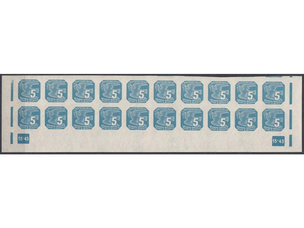 1943, 5h modrá, 20pás s DČ 15-43, Nr.NV11, **