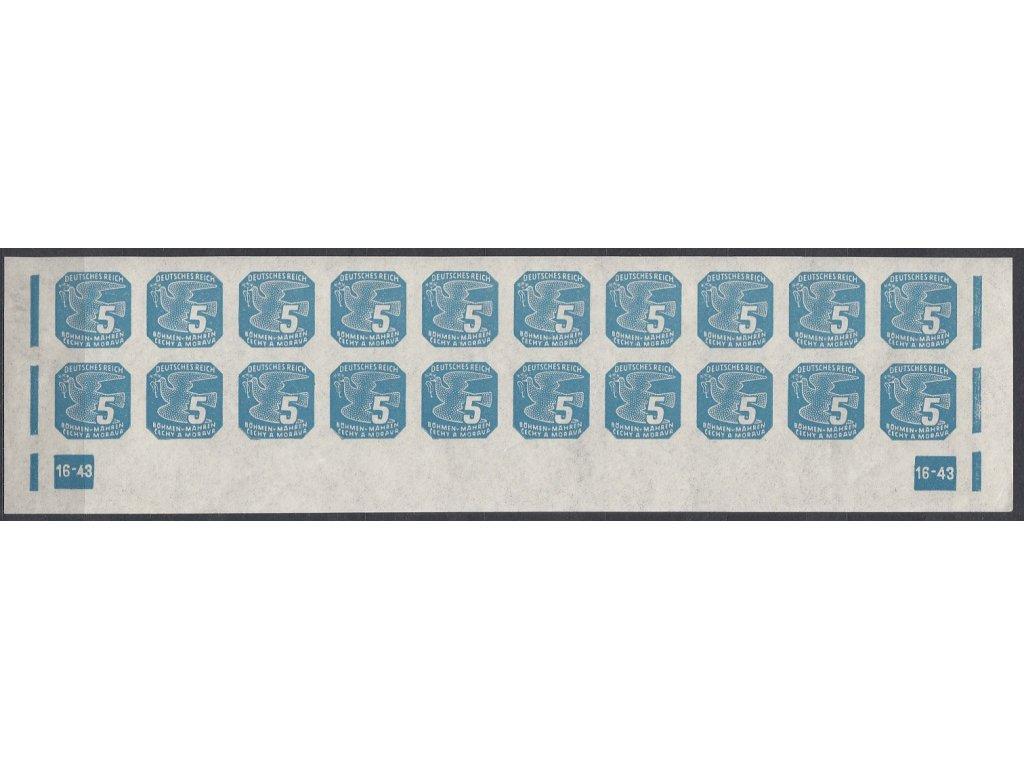 1943, 5h modrá, 20pás s DČ 16-43, Nr.NV11, **