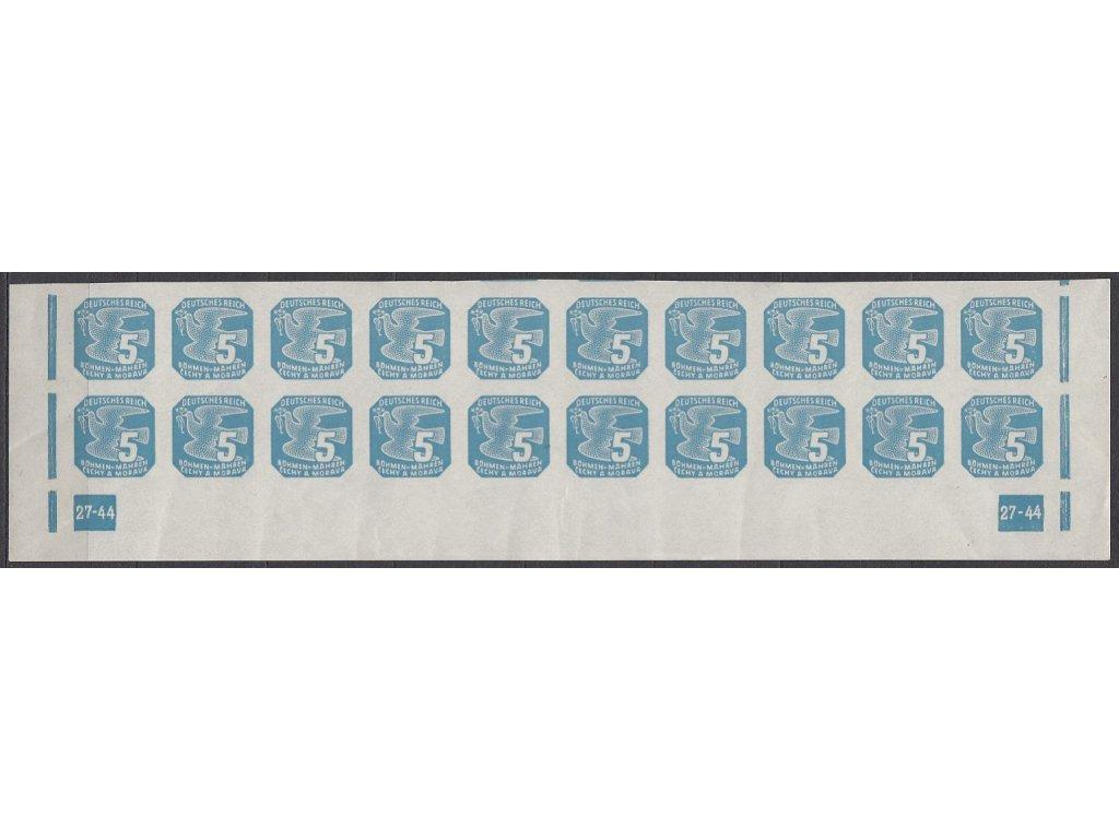 1943, 5h modrá, 20pás s DČ 27-44, Nr.NV11, **