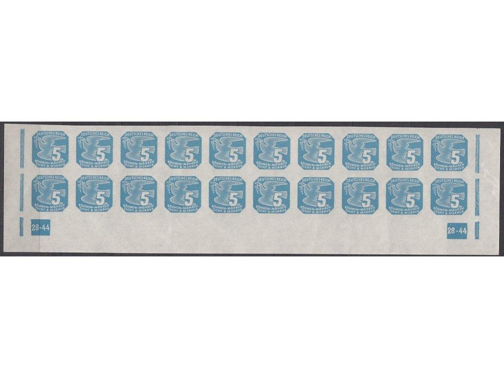 1943, 5h modrá, 20pás s DČ 28-44, Nr.NV11, **