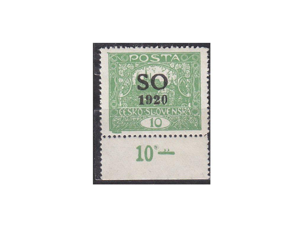 10h zelená, Řz. 13 3/4, kraj. kus s DČ - 2 tečky nad pomlčkou, Nr.SO4B, * po nálepce