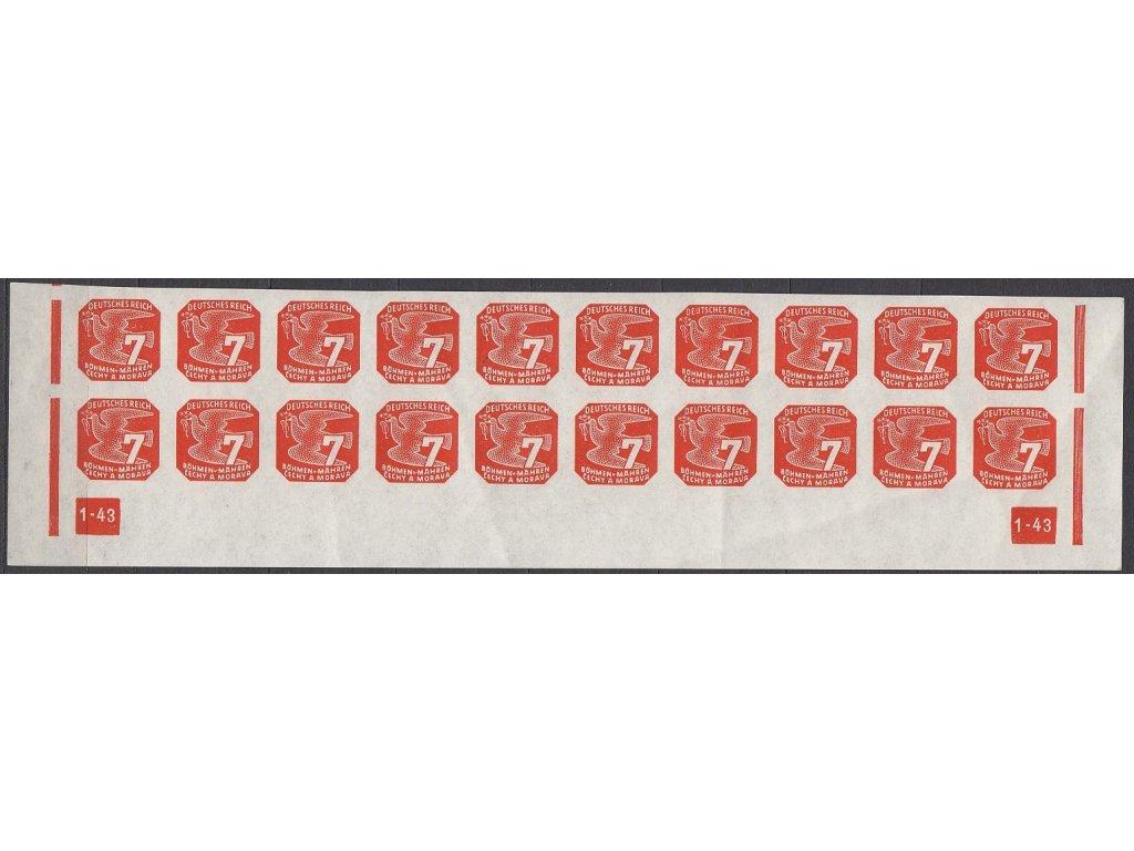 1943, 7h oranžová, 20pás s DČ 1-43 - rám přerušen, Nr.NV12, **