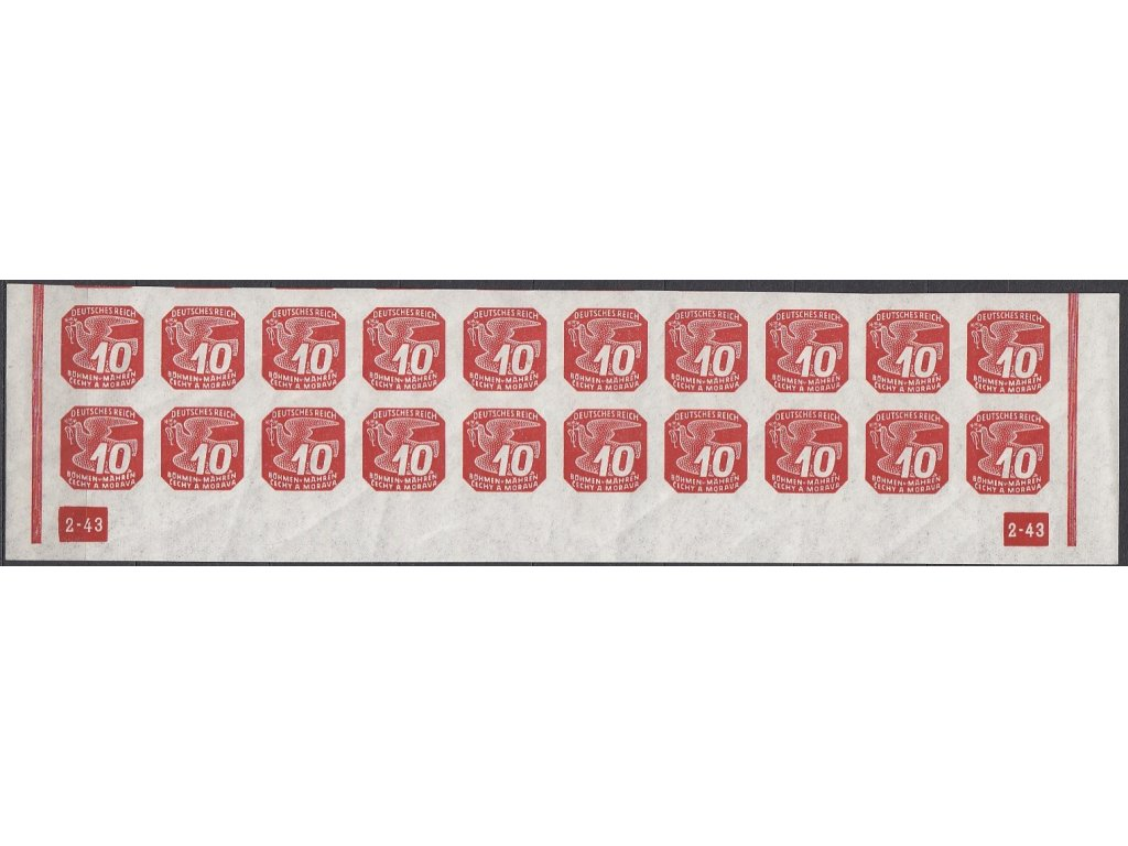 1943, 10h červená, 20pás s DČ 2-43 - rám nepřerušen, Nr.NV14, **