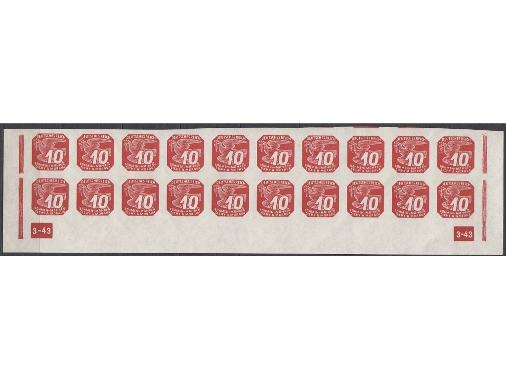 1943, 10h červená, 20pás s DČ 3-43 - rám přerušen, Nr.NV14, **