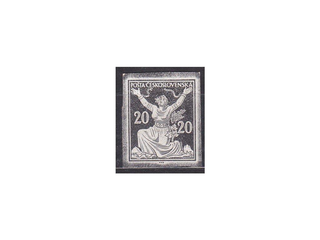 20h černá, nezoubk. ZT na křídovém papíru, nevyčištěné okraje, zk.Vrba, Nr.151, bez lepu