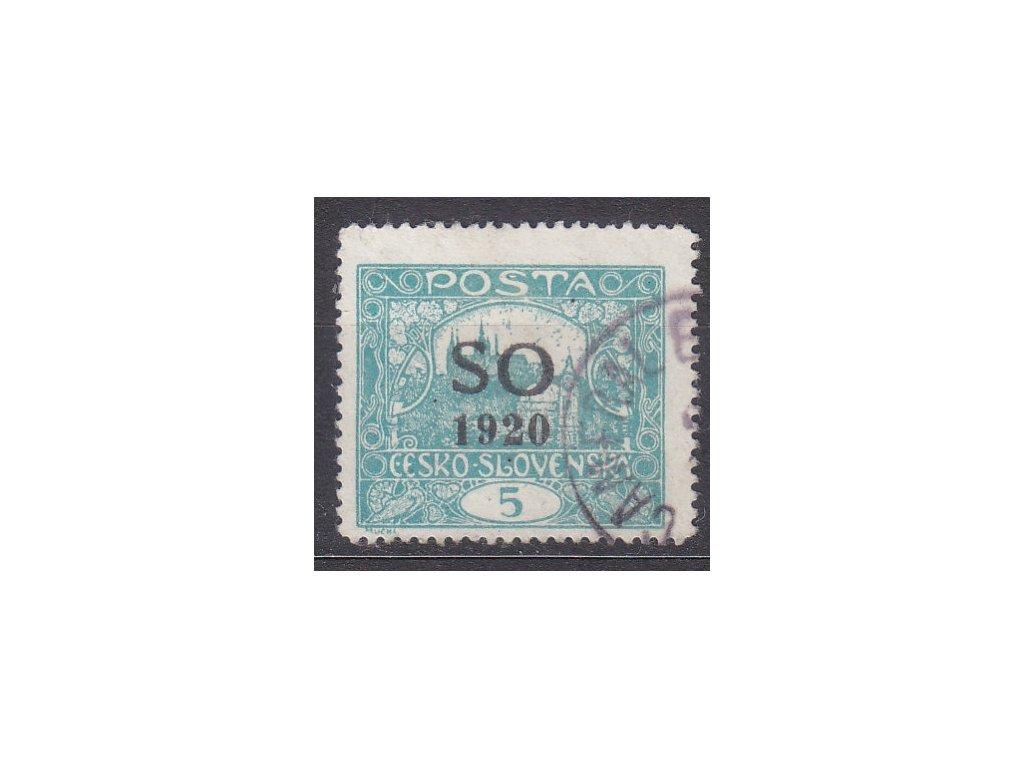 5h modrozelená, Řz.13 3/4, příčkový typ, Nr.SO3B, razítkované